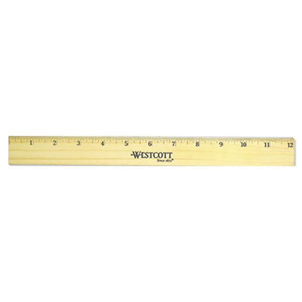 """Westcott 05221 12"""" Flat Wood Ruler with Double Metal Edges - 1/16"""" Standard Scale Main Image 1"""