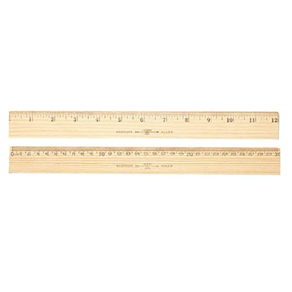 "Westcott 10375 12"" Flat Wood Ruler with Metal Edge - 1/16"" Standard Scale"