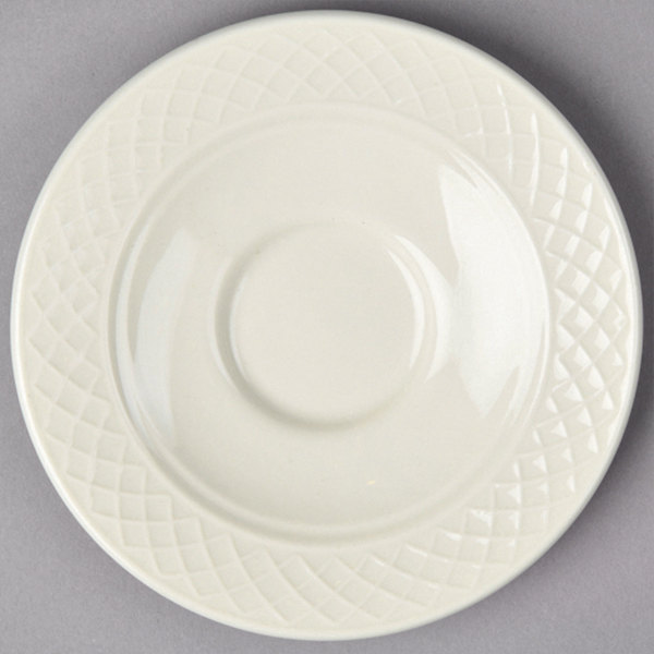 "Homer Laughlin 3557000 Gothic 5 5/8"" Ivory (American White) China Saucer - 36/Case"
