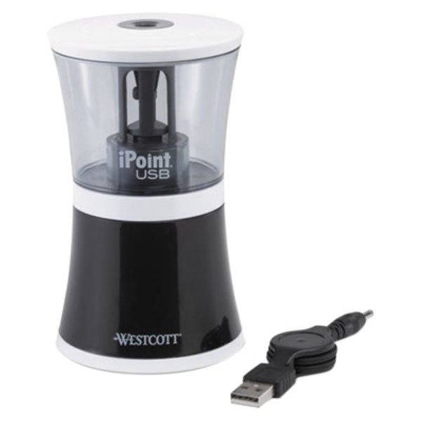 Westcott 15912 Black USB/Battery-Powered Electric Pencil Sharpener