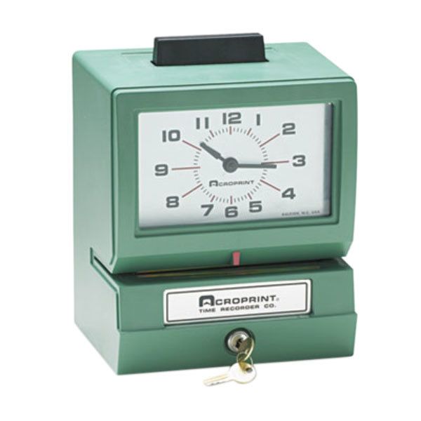 Acroprint 01107040A Model 125 Analog Manual Print Time Clock with Date, 0-23 Hours, and Minutes