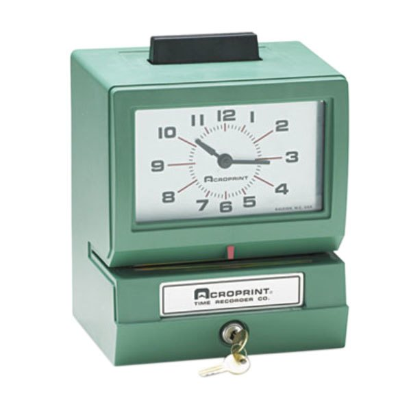 Acroprint 01107040A Model 125 Analog Manual Print Time Clock with Date, 0-23 Hours, and Minutes Main Image 1