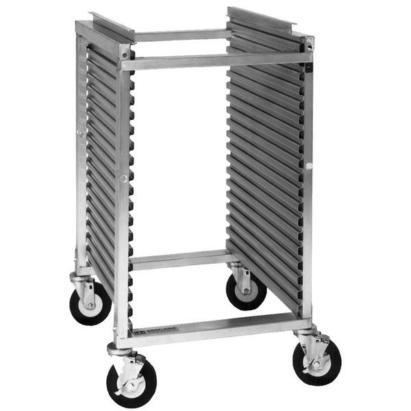 Cres Cor 278-PT-1818 18 Pan End Load Half Height Aluminum Bun / Sheet Pan Rack / Mobile Work Station with Corrugated Sidewalls - Assembled