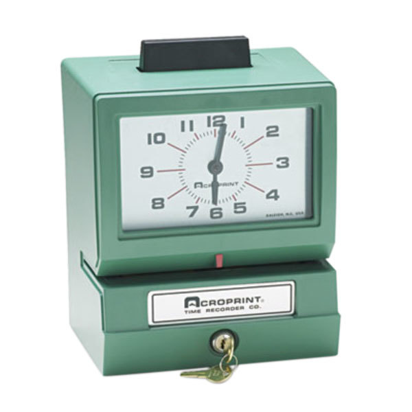 Acroprint 011070411 Model 125 Analog Manual Print Time Clock with Month, Date, 0-12 Hours, and Minutes Main Image 1
