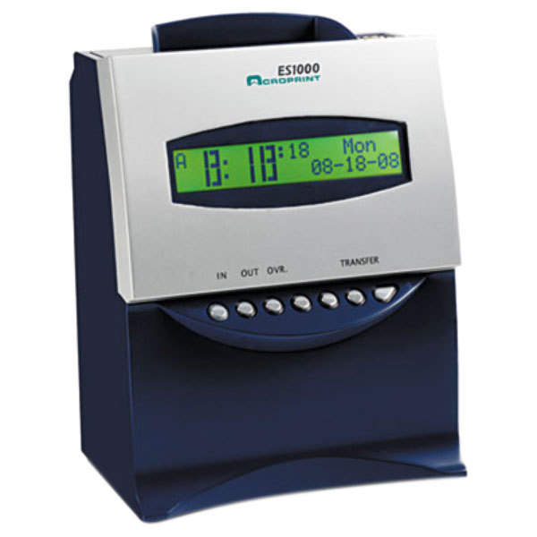 Acroprint 010215000 ES1000 Blue and Silver Totalizing Digital Automatic Payroll Recorder / Time Clock