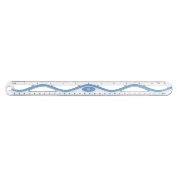 "Westcott 15530001 12"" Plastic Blue Wave Ruler - 1/16"" Standard Scale"