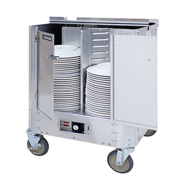"""Cres Cor HJ-531-13-180 Aluminum Heated Four Stack Plate Dispenser for 11 1/2"""" to 13"""" Diameter Plates"""