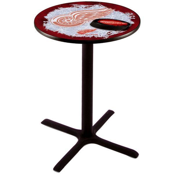 """Holland Bar Stool L211B3628DETRED-D2 28"""" Round Detroit Red Wings Pub Table"""