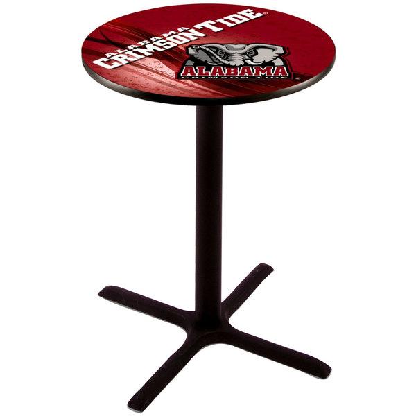 "Holland Bar Stool L211B3628AL-ELE-D2 28"" Round University of Alabama Pub Table"