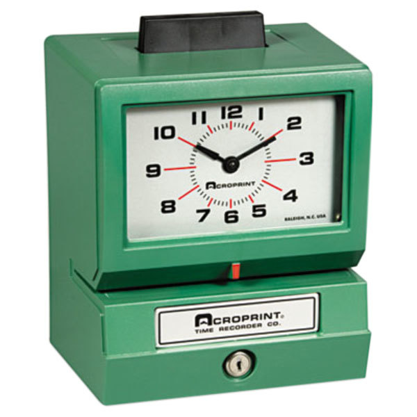 Acroprint 011070413 Model 125 Analog Manual Print Time Clock with Month, Date, 0-23 Hours, and Minutes Main Image 1