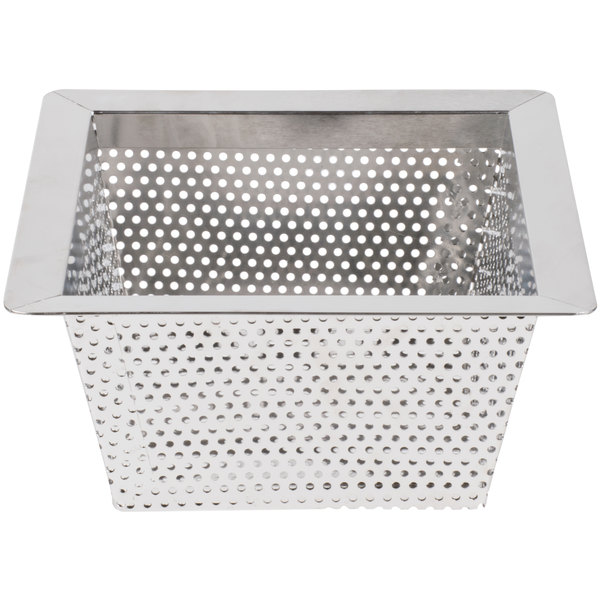 """10"""" x 10"""" x 5"""" Flanged Stainless Steel Floor Drain Strainer with 3/16"""" Perforations Main Image 1"""