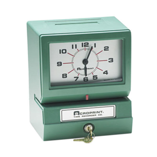 Acroprint 012070411 Model 150 Analog Automatic Print Time Clock with Month, Date, 0-12 Hours, and Minutes