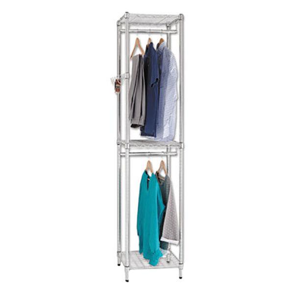 "Alera ALEGR351818SR 18"" x 18"" x 81 3/4"" Silver Wire Shelving Garment Tower"