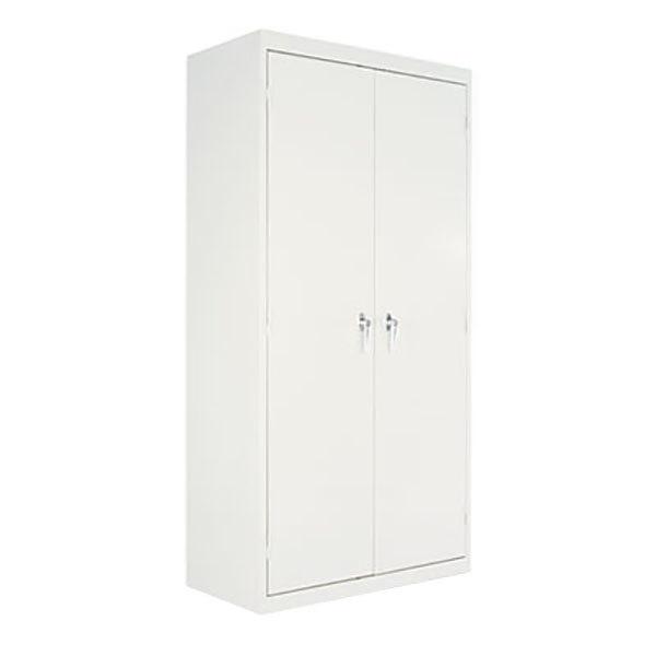 "Alera ALECM7218LG 36"" x 18"" x 72"" Light Gray 2-Door Steel Storage Cabinet with Four Shelves"