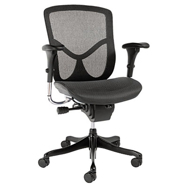 Alera ALEEQA42ME10B EQ Series High-Back Multifunction Black Mesh Office Chair with Adjustable Arms and Black Aluminum Swivel Base