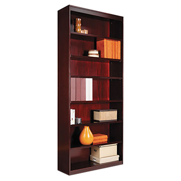"Alera ALEBCS78436MY 36"" x 84"" Mahogany Wood Veneer 7-Shelf Square Corner Bookcase Main Image 1"