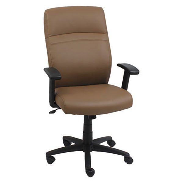 Alera ALECA4159 Taupe High-Back Leather Office Chair with Adjustable Arms and Black Swivel Nylon Base