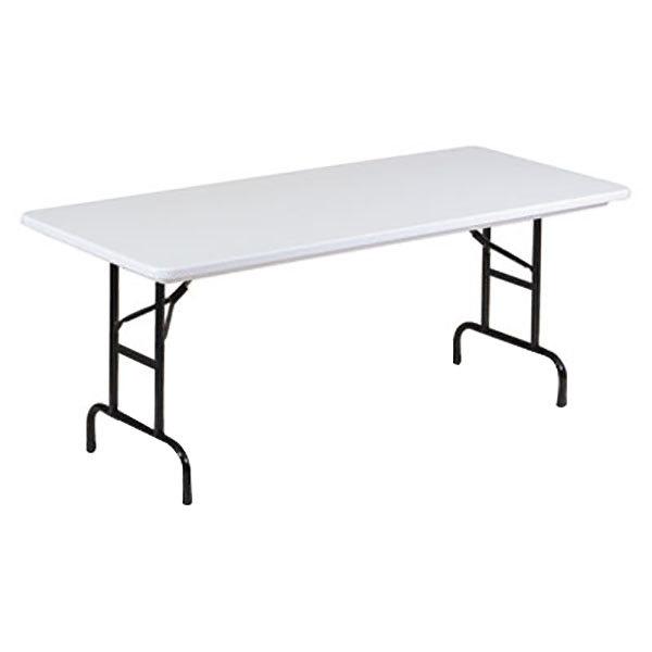 "Alera ALEFA306023 30"" x 60"" Gray Granite Blow Molded Resin Heavy-Duty Adjustable Height Folding Table"