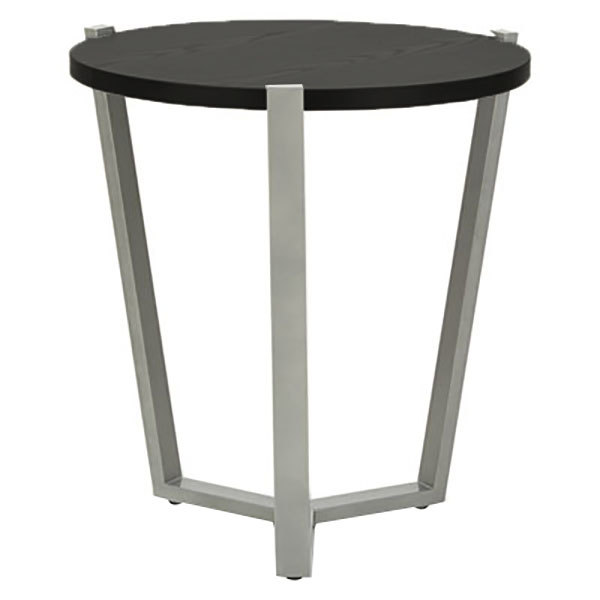 "Alera ALECT7721B 21 1/4"" Round Silver Corner Table with Black Laminate Top"