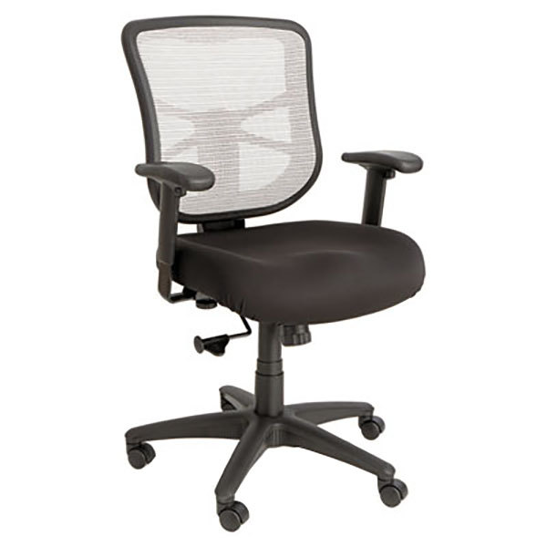 Alera ALEEL42B04 Elusion Mid-Back Black / White Mesh Office Chair with Adjustable Arms and Black Swivel Nylon Base Main Image 1