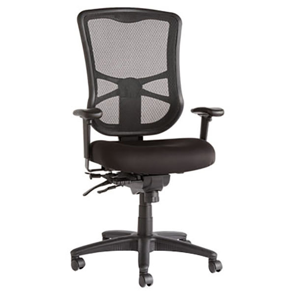 Alera ALEEL41ME10B Elusion High-Back Black Multifunction Mesh Office Chair with Adjustable Arms and Black Swivel Nylon Base Main Image 1