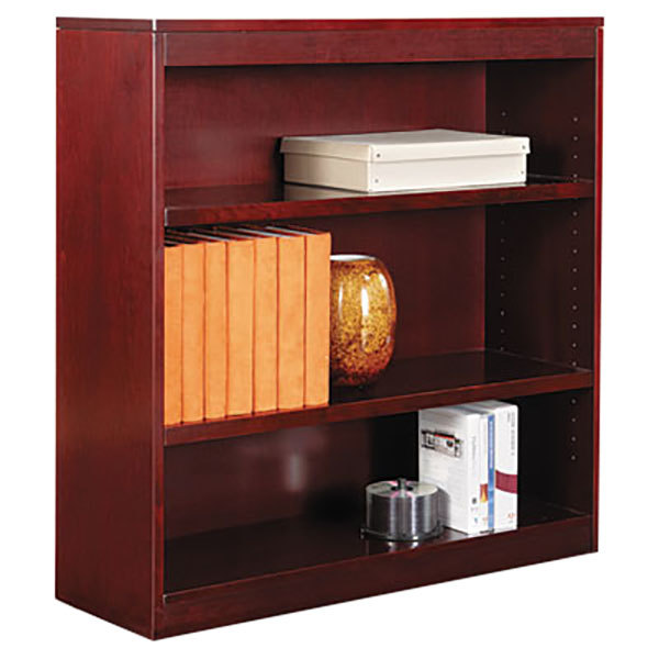 "Alera ALEBCS33636MY 36"" x 36"" Mahogany Wood Veneer 3-Shelf Square Corner Bookcase"