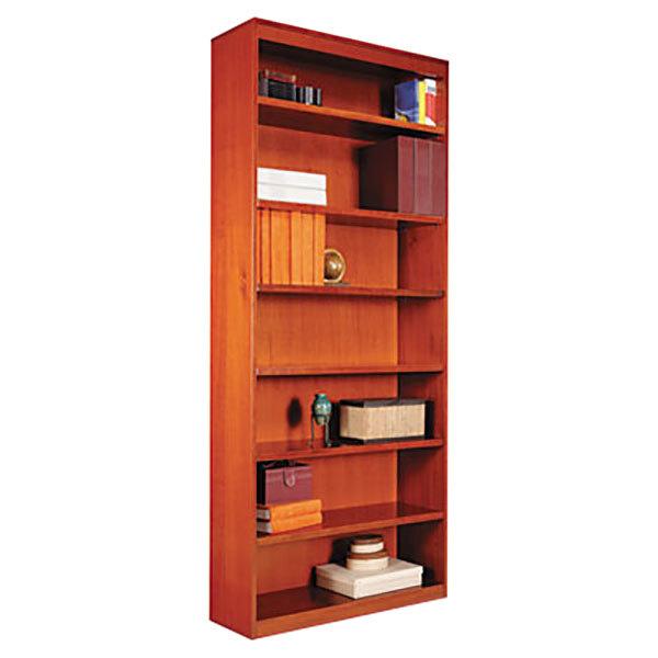 "Alera ALEBCS78436MC 36"" x 84"" Medium Cherry Wood Veneer 7-Shelf Square Corner Bookcase Main Image 1"