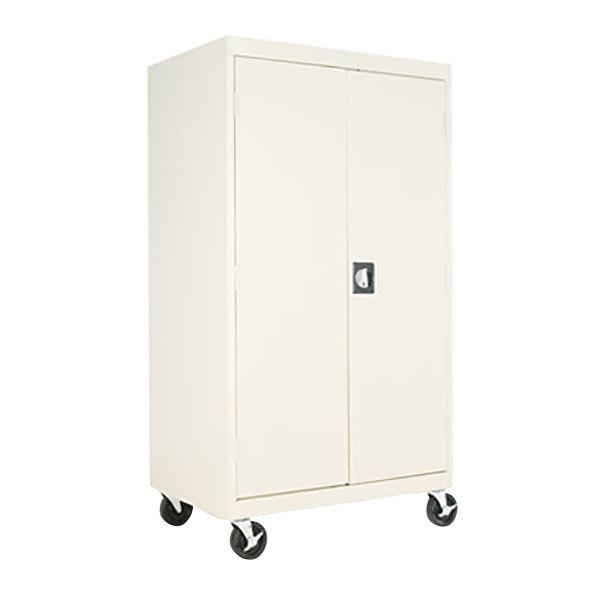 "Alera ALECM6624PY 36"" x 24"" x 66"" Putty Mobile 2-Door Steel Storage Cabinet with Three Shelves"