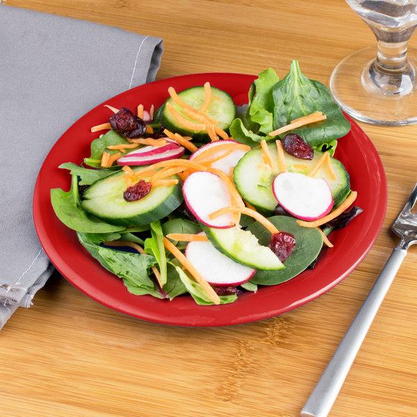 "Carlisle 3301605 Sierrus 7 1/2"" Red Wide Rim Melamine Salad Plate - 48/Case"