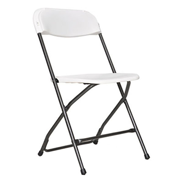 Alera ALEFR9502 Black Anthracite Economy Folding Chair with White Molded Resin Back and Seat - 4/Case Main Image 1
