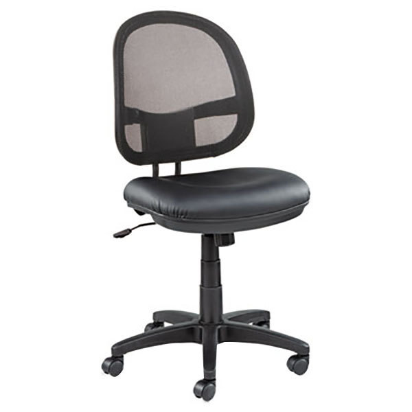 Alera ALEIN4815 Interval Black Mesh / Leather Office Chair with Black Swivel Nylon Base Main Image 1