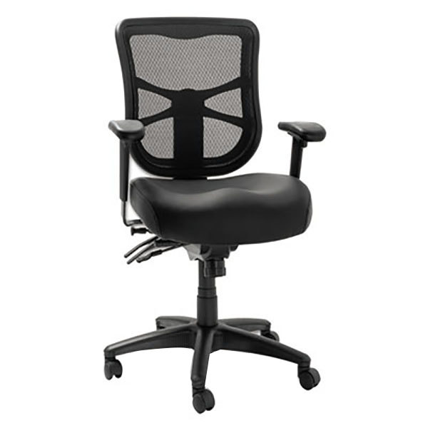 Alera ALEEL4215 Elusion Black Mid-Back Multifunction Mesh Office Chair with Adjustable Arms and Black Swivel Nylon Base Main Image 1