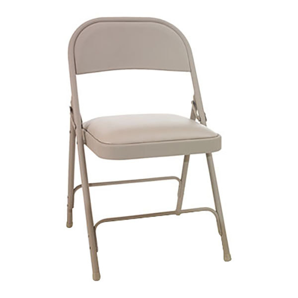 Alera ALEFC94VY50T Tan Folding Chair with Padded Vinyl Seat - 4/Case