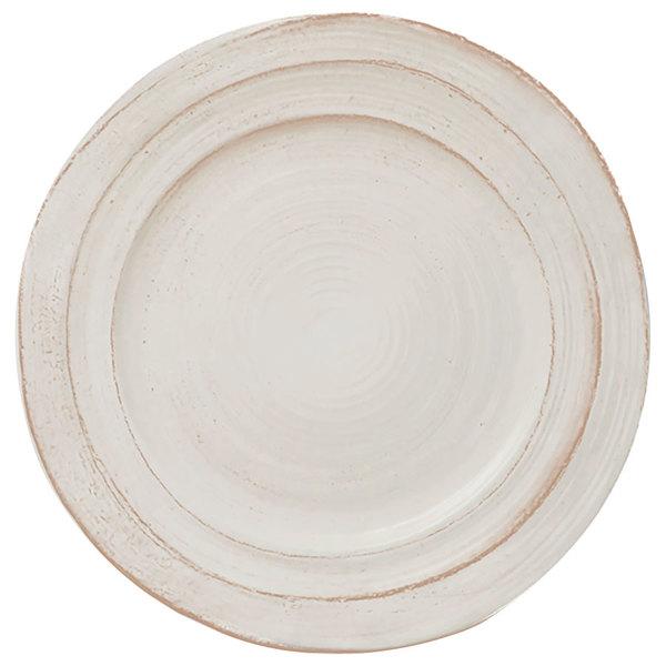 "Elite Global Solutions D101ST-OWD Della Terra Melamine Stoneware 10"" Off White Irregular Round Plate - 6/Case"