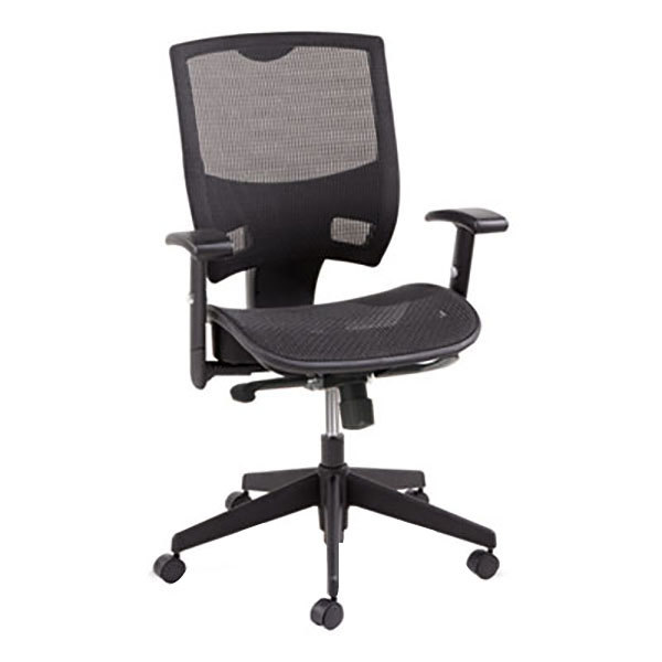 Alera ALEEP4218 Epoch Black Mid-Back Multifunction Suspension Mesh Office Chair with Adjustable Arms and Graphite Swivel Nylon Base Main Image 1