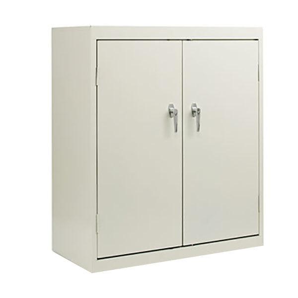 "Alera ALECM4218LG 36"" x 18"" x 42"" Light Gray 2-Door Steel Storage Cabinet with Two Shelves Main Image 1"