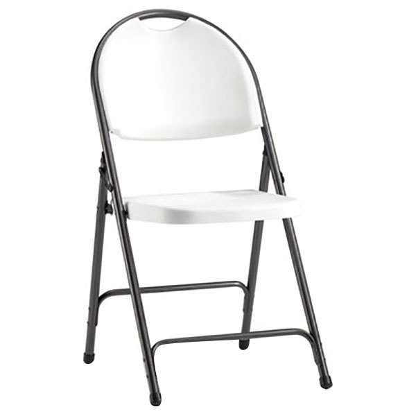 Alera ALEFR9402 Black Anthracite Folding Chair With White Molded Resin Back  And Seat   4/Case