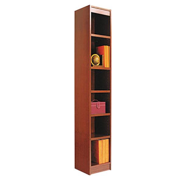 "Alera ALEBCS67212MC 12"" x 72"" Medium Cherry Wood Veneer 6-Shelf Narrow Profile Square Corner Bookcase"