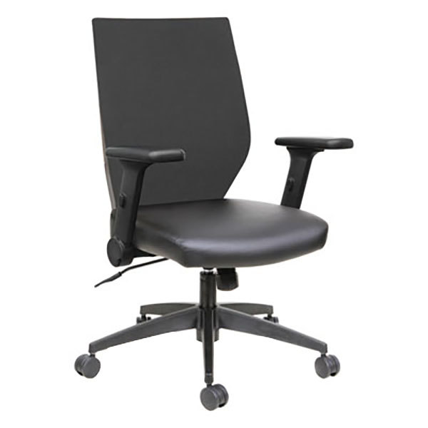 Alera ALEEBT4215 EB-T Mid-Back Black Mesh Office Chair with Adjustable Arms and Black Swivel Nylon Base Main Image 1