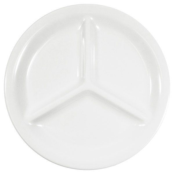 "Elite Global Solutions DC103 10"" White Round 3-Compartment Melamine Plate - 6/Case"