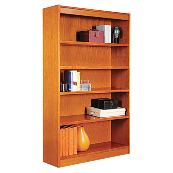 "Alera ALEBCS56036MC 36"" x 60"" Medium Cherry Wood Veneer 5-Shelf Square Corner Bookcase Main Image 1"