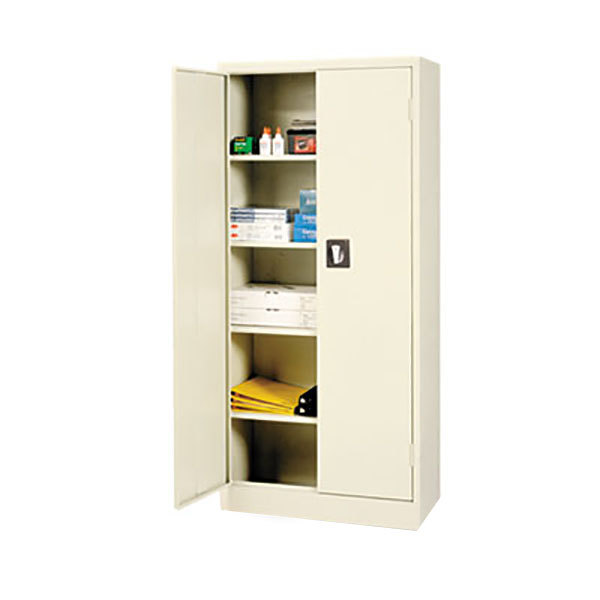 "Alera ALECM6615PY 30"" x 15"" x 66"" Putty Space Saver 2-Door Steel Storage Cabinet with Four Shelves"