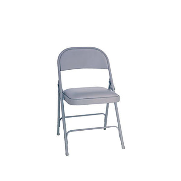 Alera ALEFC94VY40LG Light Gray Folding Chair with Light Gray Padded Vinyl Seat - 4/Case
