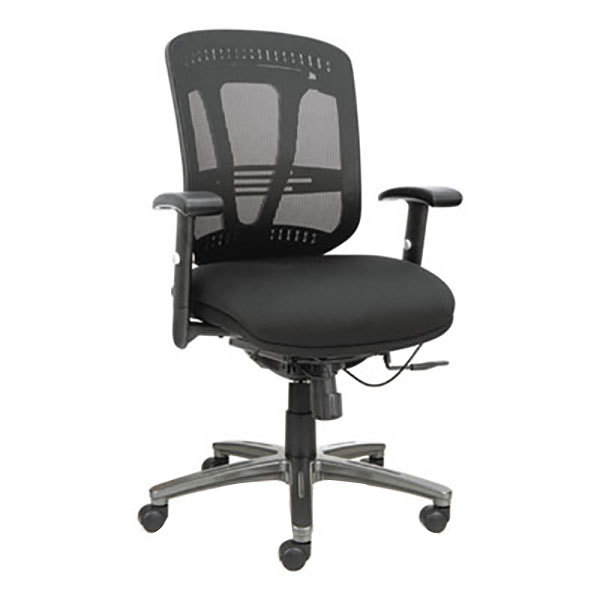 Alera ALEEN4217 Eon Black Mid-Back Multifunction Mesh Office Chair with Adjustable Arms and Graphite Swivel Nylon Base Main Image 1