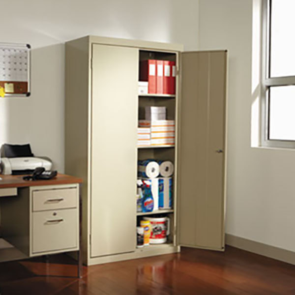 "Alera ALECME7218PY 36"" x 18"" x 72"" Putty 2-Door Steel Storage Cabinet with Four Shelves Main Image 4"