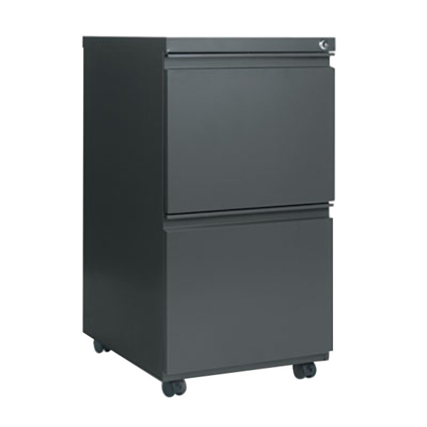 "Alera ALEPBFFCH Charcoal Two 12"" Drawer Metal Pedestal File with Full-Length Pulls - 14 7/8"" x 19 1/8"" x 27 3/4"" Main Image 1"