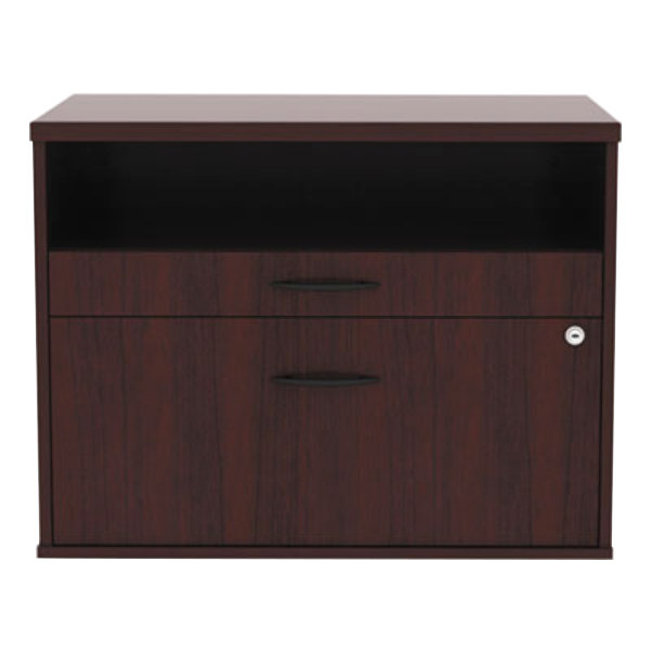 "Alera ALELS583020MY Open Office Mahogany Low File Cabinet / Credenza - 29 1/2"" x 19 1/8"" x 22 7/8"""