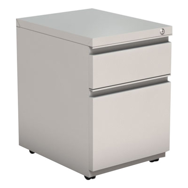 "Alera ALEPBBFLG Light Gray Two-Drawer Metal Pedestal Box File with Full-Length Pulls - 14 7/8"" x 19 1/8"" x 21 5/8"" Main Image 1"
