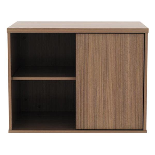 alera alels593020wa open office walnut low storage cabinet rh webstaurantstore com Japanese Low Storage Cabinets with Doors Discount Cabinets with Door Storage