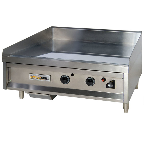 "Anets A24X24AGC 24"" Natural Gas Chrome Countertop Griddle with Thermostatic Controls - 60,000 BTU Main Image 1"